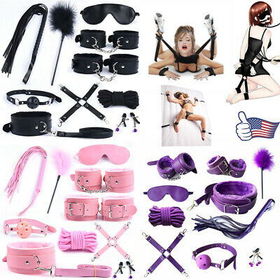 BDSM Adult Sex-SM-Toys Restraint Handcuffs Cuffs String Whip Rope Neck Bandage