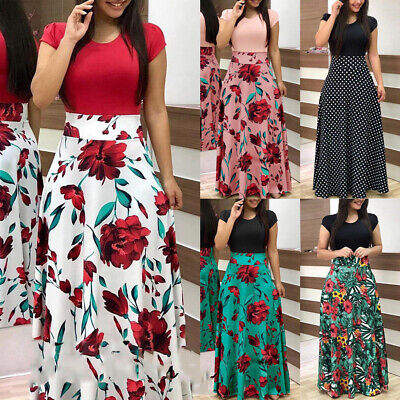 Uk Women Floral Maxi Dress Long Evening Party Dress Summer Cocktail Dresses Boho