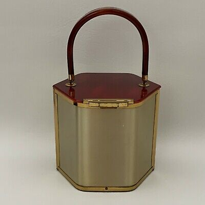 Vintage Majestic? Bakelite Lucite Metal Handbag Hexagon Red-Brown Gold-tone