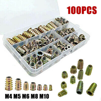 100pcs/Box M4 M5 M6 M8 M10 Threaded Hex Drive Insert Wood Screw Inserts Nuts FT