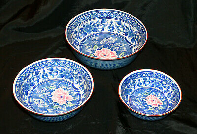 Set of Three Japanese Donburi Soup Noodle Rice Bowls w/ Makers Mark Free S/H