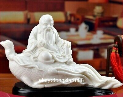 Chinese White dehua Porcelain Pottery old man god of longevity ginseng sculpture