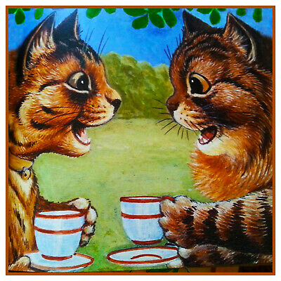 Louis Wain's Calicot Kitty Chats Café Break Point de Croix Tableau Motif