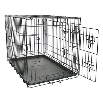 "42"" Metal Dog Cages Puppy Foldable Carrier Crates Pet Training Kennel Black XL"