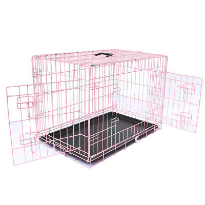 "Pink Dog Cage 36"" Puppy Pet Metal Crate with Tray Large Folding Training Carrier"