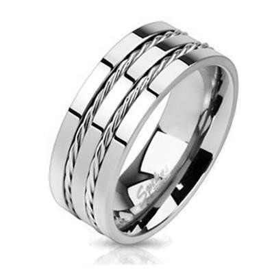"Coolbodyart Unisex Titan Ring Silver "" Double Wire """