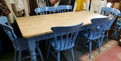 Large Pine Dining Refectory Table and 6 Chairs- Corn flower Blue  Shabby Chic