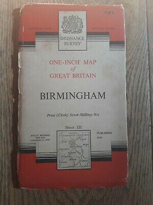 Ordnance Survey One Inch Map - Sheet 131 Birmingham (cloth)