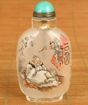 unique chinese old glass hand painting Ghost Stories statue art snuff bottle