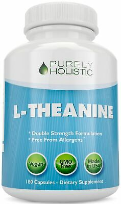 L-Theanine 200mg Anxiety, Stress 180 Vegan Capsules 6 Month Supply high Strength