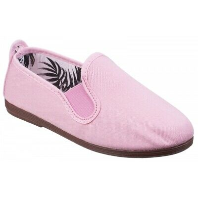 Flossy ARNEDO Junior Comfort Casual Summer Canvas Slip On Plimsolls Baby Pink