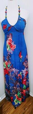 Womens Sundress Blue Floral Size M Maxi Halter Dress  Multi color New