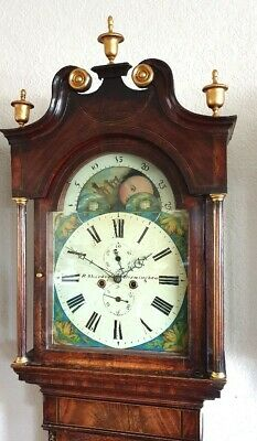 Lovely Victorian Mahogany & Inlaid Moonroller Longcase Grandfather Clock C1840