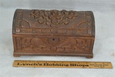carved box dome top mahogany 10x5x5 jewelry trinket antique original 19th c