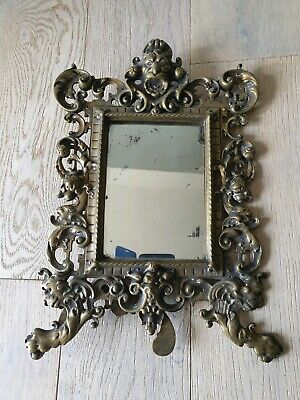Antique Victorian Brass Picture Frame Mirror, Requires Restoration