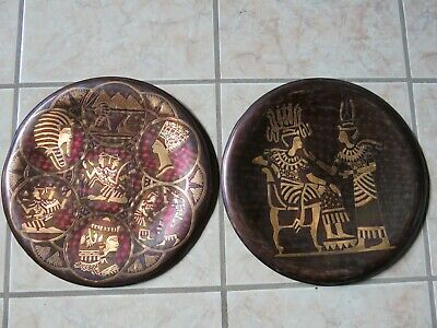 2 Vintage Egyptian Hand Made Copper & Brass Wall Plaque Plates