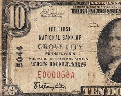 *SCARCE* 1929 $10 GROVE CITY, PA National Banknote! 2-DIGIT s/n E000058A!