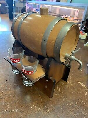 Vintage mini MUSICAL Whiskey Barrel Decanter & Shot glass Schonauer 1 Of A Kind