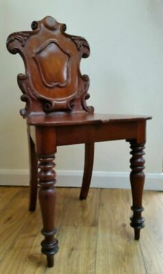 Victorian C1880 Shield-back Carved Mahogany Hall/bedside Chair