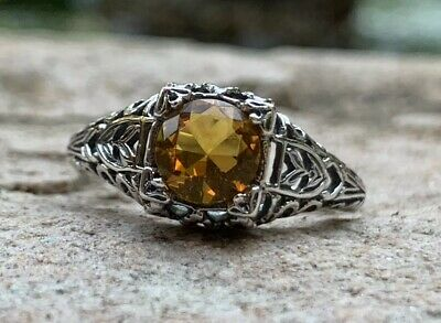 Stunning 1910s Natural Citrine Filigree Sterling Silver Edwardian Ring Size 7
