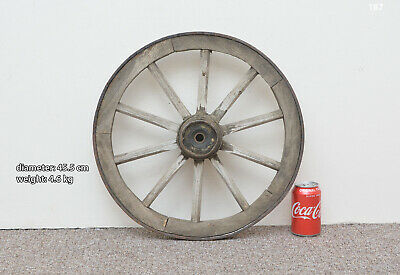 Vintage old wooden cart wagon wheel  / 45.5 cm  / 4.6 kg - FREE DELIVERY