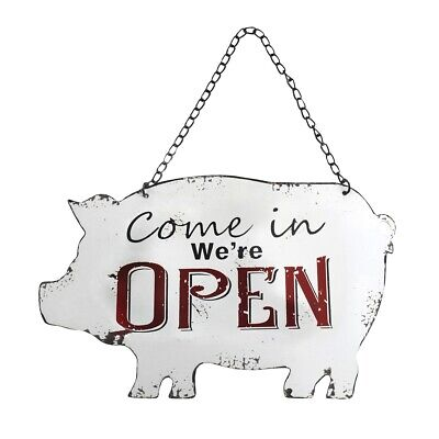 Weathered Pig Open Closed Rustic Shop Sign Metal Store Door Farmhouse Wall Decor