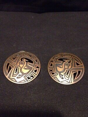 """Vintage Pair Of 11/2"""" Round Copper Statement Priced Earrings Marked Nt"""