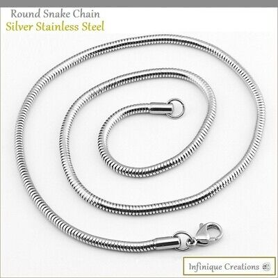 "Men Women Stainless Steel Silver Round Snake Chain Necklace 1mm to 3mm 7"" to 30"""