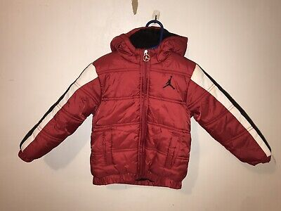 JORDAN Puffer Jacket Toddler Sz 3T Jumpman Logo Red Black White Hooded Zip Up