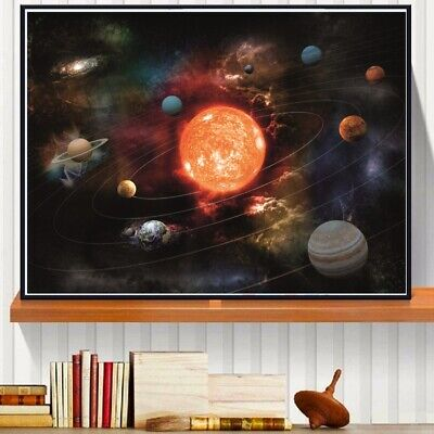 3D Solar System Canvas Art Print Painting Poster Wall Pictures For Room