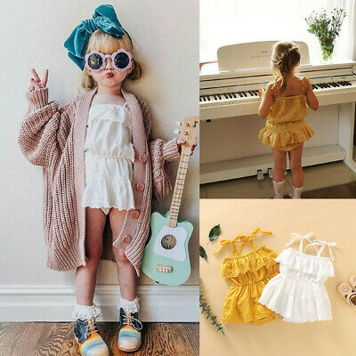 Newborn Infant Baby Girl Summer Sleeveless Solid Lace Romper Bodysuit Outfits
