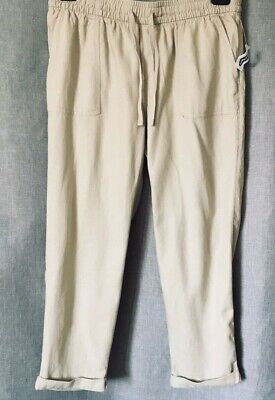 NWT Old Navy Pants Size M Linen Blend Pull Up Drawstring Rolled Up Cuff Cropped