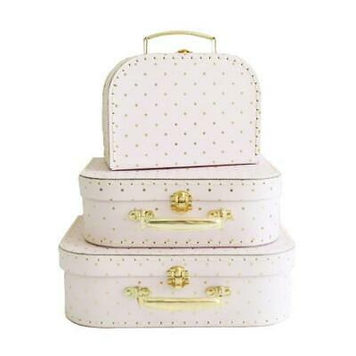 NEW Decor Suitcase Set of 3 – Pink & Gold - Toy Storage Carry Case