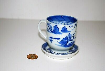 Chinese Export Antique Canton Pattern Demitasse Cup and Saucer