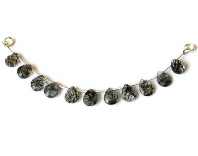 """4"""" 925 Silver Natural Black Rutile Faceted Briolette Pear For Necklace #324-A"""