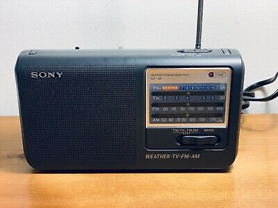 Sony ICF-36 Weather-TV-FM-AM 4 Band ~ Portable Radio ~ AC or AA Battery Powered