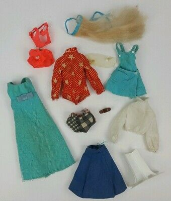 Vintage Barbie Doll Clothes & Accessories Wiglet Bathingsuit Dress Stand 12Pcs