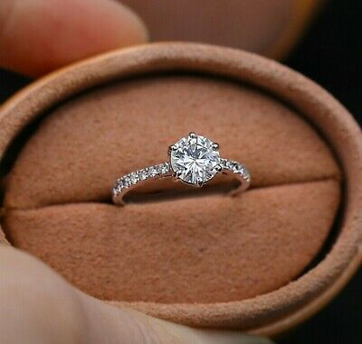 1/2 CT. Diamond Solitaire Frame Vintage-Style Engagement Ring 14K White Gold Fn