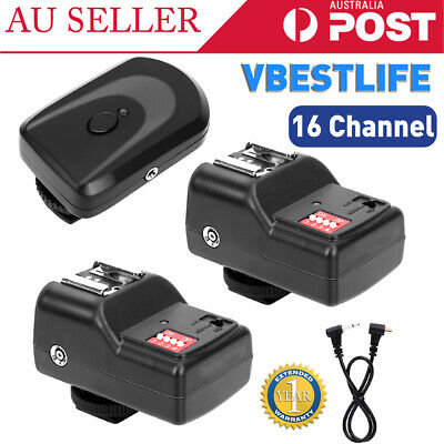 16 Channels Wireless Flash Trigger Set Transmitter+2 Receivers For Canon/Nikon