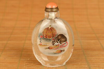 unique Chinese hair crystal hand painting mouse snuff bottle