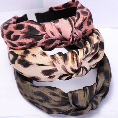UK Women Leopard Print Headband Turban Hairband Head Tie Twist Knot Hair Hoop