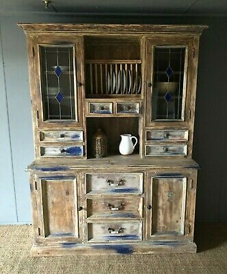 Very Large Bespoke Freestanding Kitchen Dresser Solid Pine Unit With Plate Rack