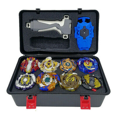 8pc Gold Gyro Beyblade Burst Set w/Grip Launcher + Portable Storage Box Case Top