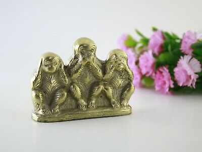 Three wise monkeys figurine Solid Brass No Evil Monkeys - home decor