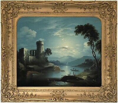 Moonlit Landscape Antique 19th Century Oil Painting Sebastian Pether (1790–1844)