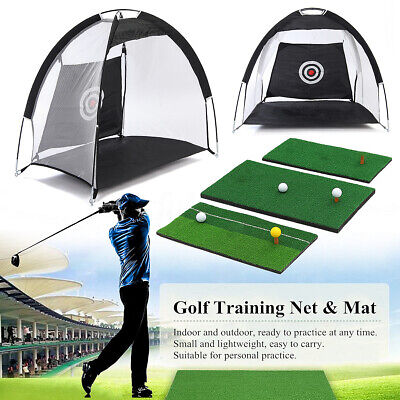 Golf Hitting Cage Practice Net Trainer With Training Mat +2 Balls +Tee AU