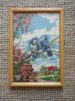 Blue Tit Birds Framed Needlepoint Tapestry Vintage Embroidery Craft Wall Decor