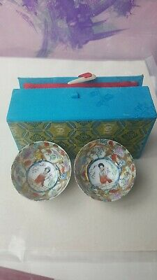 rare Chinese Famille Rose Eggshell Porcelain Bowls in original box two