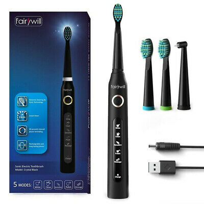 Fairywill Ultrasonic Electric Toothbrush 5 Modes Rechargeable Timer Auto-off