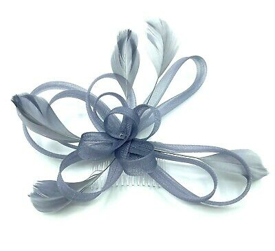 Silver Coloured Feather Comb Fascinator Ladies Day Races Ascot Weddings